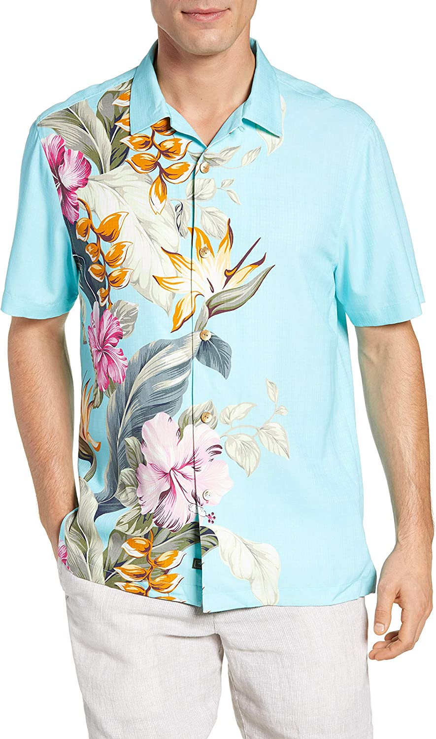 Tommy Bahama Garden of Hope & Courage Men's Big and Tall SS Button Down Shirt, Blue Swell, LT