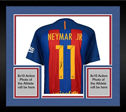 c07f3c4ce Framed Neymar Santos Barcelona Autographed 2016-2017 Blue   Red Nike Jersey  - ICONS - Fanatics Authentic Certified at Amazon s Sports Collectibles Store