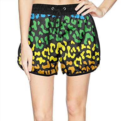 15edc6b60f541 LUWI Women's Colorful Leopard Print Beach Board Shorts Quick Dry Swim Trunks  at Amazon Women's Clothing store: