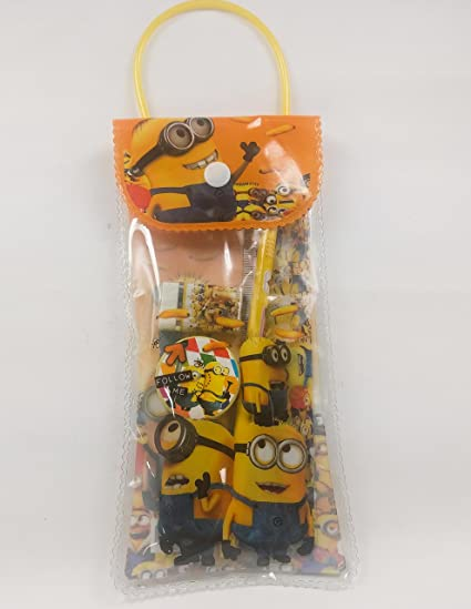 GOYAL® Minion Stationery pouch set with pencil, rubber, sharpner and scale (set of 6)