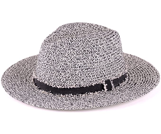 03793a43726da BYOS Womens Fashion Straw Speckled Panama Sun Hat (Black) at Amazon ...