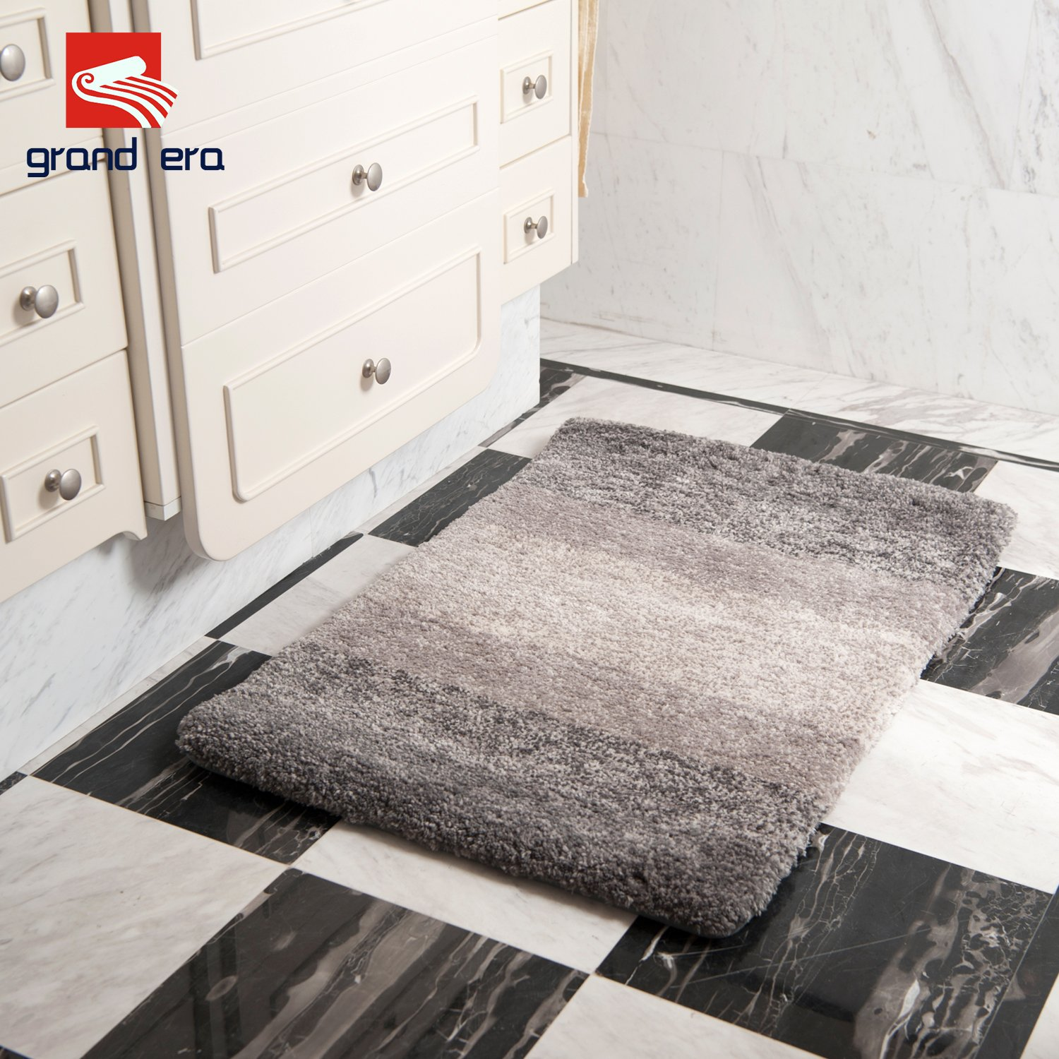 Water Absorbent GRAND ERA Luxury Extra Thick Microfiber Bath Mat Non-Slip Antibacterial Bathroom Rug Perfect for Bedroom and Bathroom Coffee 24 x 36 Inches