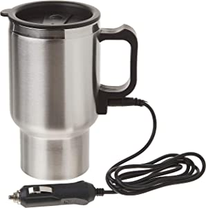 Heated Travel Mug Cup Stainless Steel In-Car Heated Coffee Mug for Heating Water, Coffee, Milk and Tea with Charger