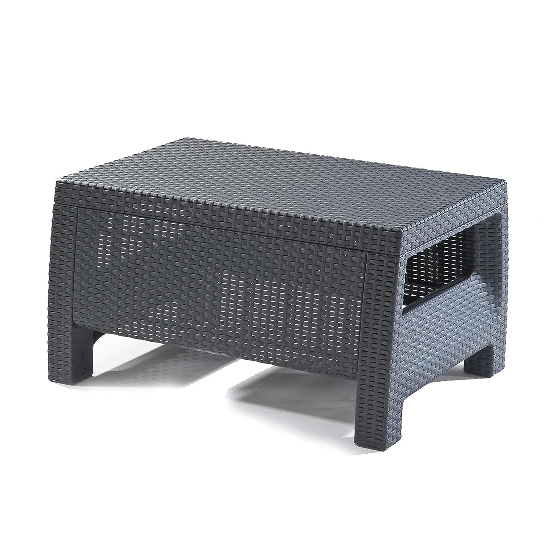 Corfu_Graphite Coffee Table_Corfu Keter Corfu 2 Seater Rattan Effect Sofa Outdoor Garden Furniture - Graphite with Cream Cushions