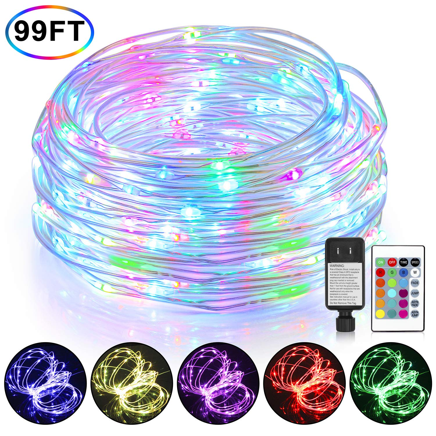 Mlambert 99Ft LED Rope Lights Outdoor, Color Changing Fairy String Lights Plug in with 300 LEDs, Waterproof, Super Durable, 16 Colors with Remote, for Bedroom Patio Wedding and Christmas Decor by Mlambert