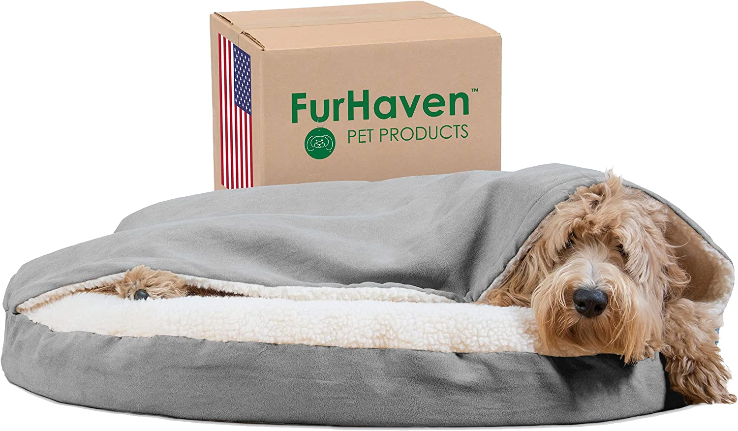 Furhaven Pet - Round Snuggery Hooded Dog Bed with Attached Blanket, Calming Anti-Anxiety Hooded Donut Bed, and More for Dogs and Cats - Multiple Colors, Sizes, and Styles