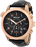 Sector Men's Quartz Watch with Brown Dial Analogue Display and Black Leather Strap R3251102019