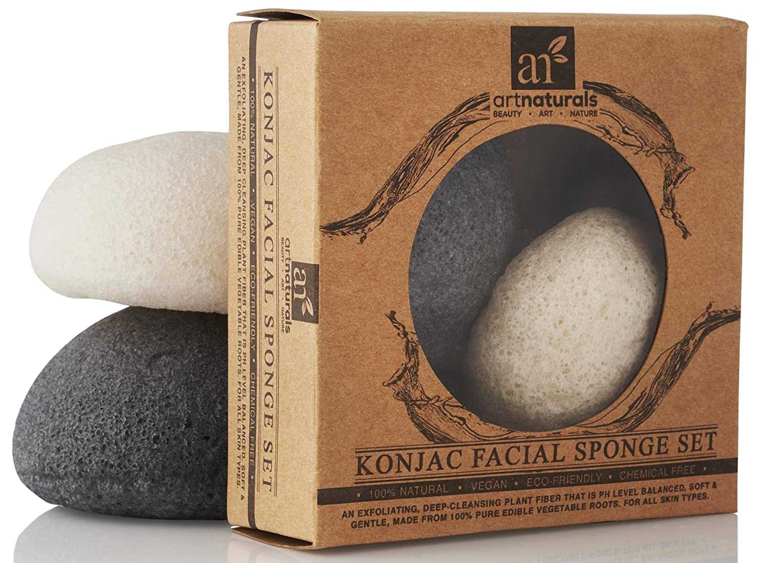 ArtNaturals Konjac Facial Sponge Set - 2 Pack (Charcoal Black and Natural White) - Natural Great for Sensitive, Oily and Acne Prone Skin - Beauty Facial Scrub for gentle deep cleaning and exfoliation Art Naturals ANTA-5008-VE