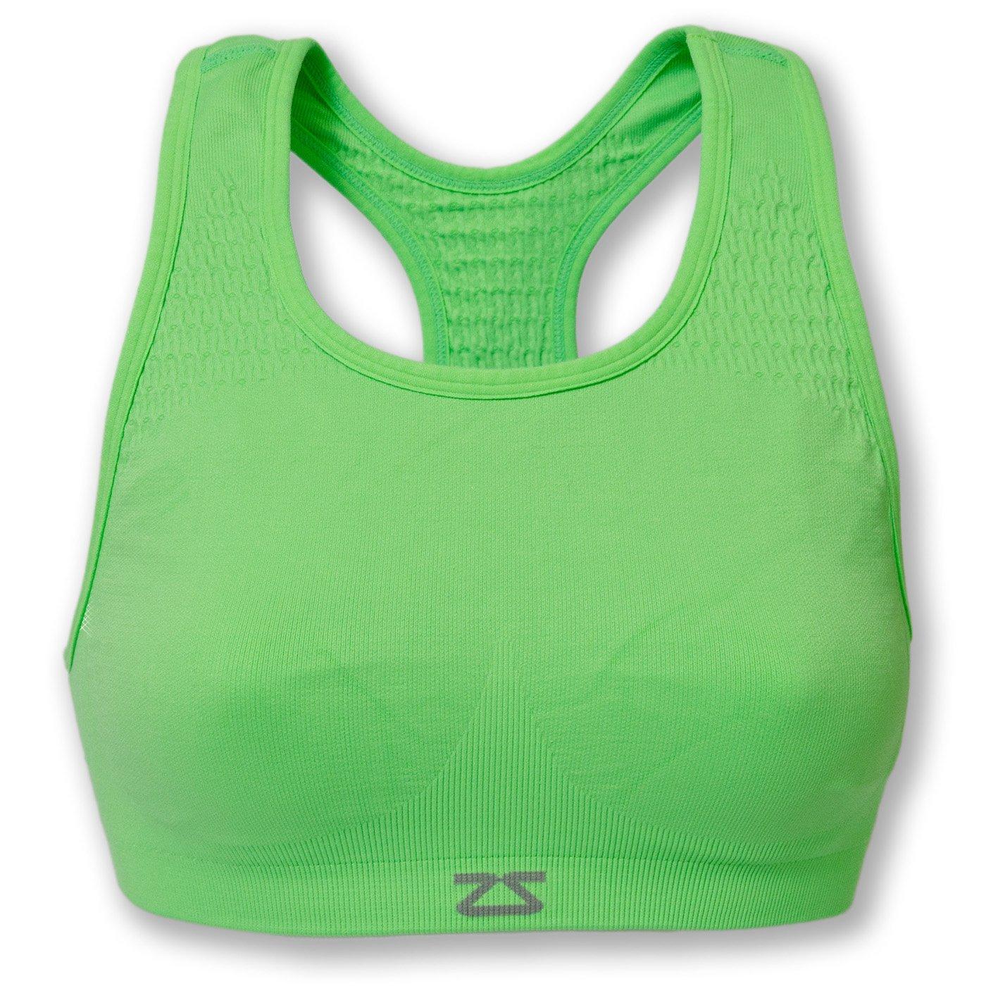 Zensah Seamless Sports Bra - Best Sports Bra for Running, Comfortable Sports Bra,Neon Green,Small/Medium