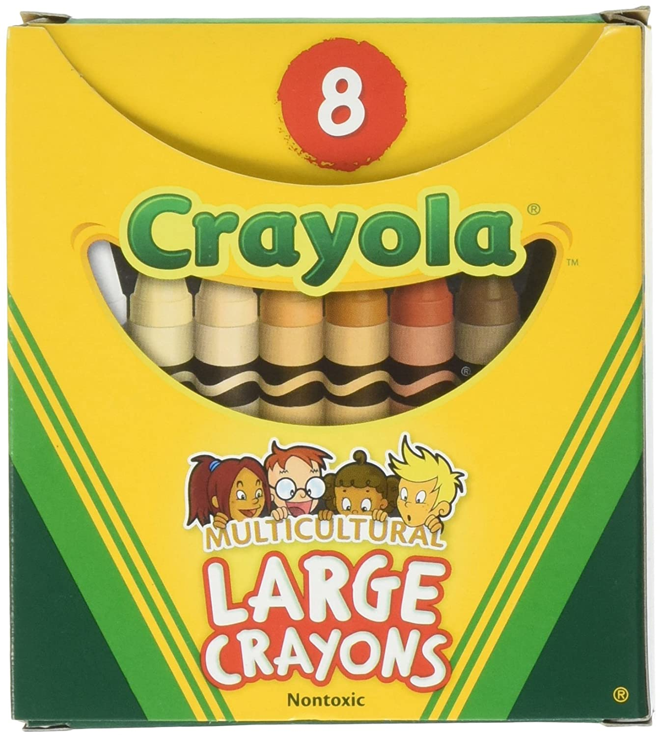 Binney & Smith Crayola(R) Multicultural Large Crayons, Assorted Specialty Colors, Box Of 8 52-080W