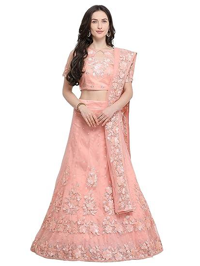 c79ab369217 Aasvaa Peach Color Net Embroidered Semi-Stitched Lehenga Choli  (NMMY14A840 PEACH)