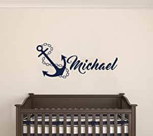 "Custom Name Anchor Nautical Series - Baby Boy/Girl Wall Decal Nursery for Home Bedroom Children (MM48) (Wide 32"" x 20"" Height)"