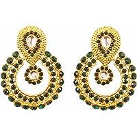 Touchstone Indian Bollywood Chandbali Moon Kundan polki Rhinestones Long Bridal Designer Jewelry Chandelier Earrings for…