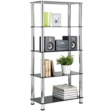 VonHaus Glass Shelving Unit Bookcase Living Room Furniture 5 Tier With  Steel Chrome Plated Tubing