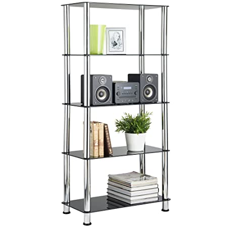 Great VonHaus Glass Shelving Unit Bookcase Living Room Furniture 5 Tier With  Steel Chrome Plated Tubing