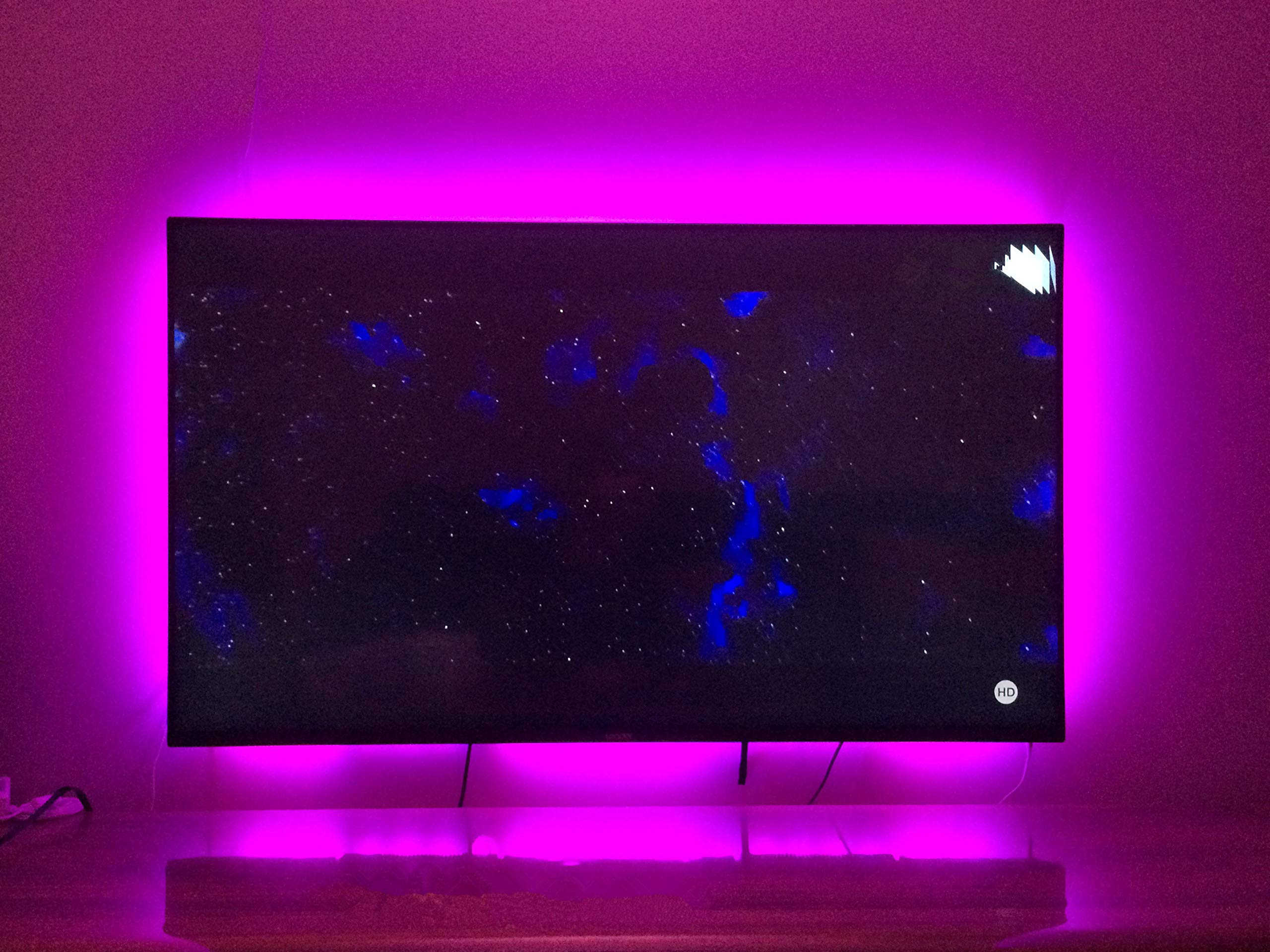 TV Bias Lighting USB Powered LED Strip Lights for 65 70 inches HDTV 4M/13.12ft Black Light Strip Kit Decor for TV with 20 Color Options Remote (Black 65'' - 70'')