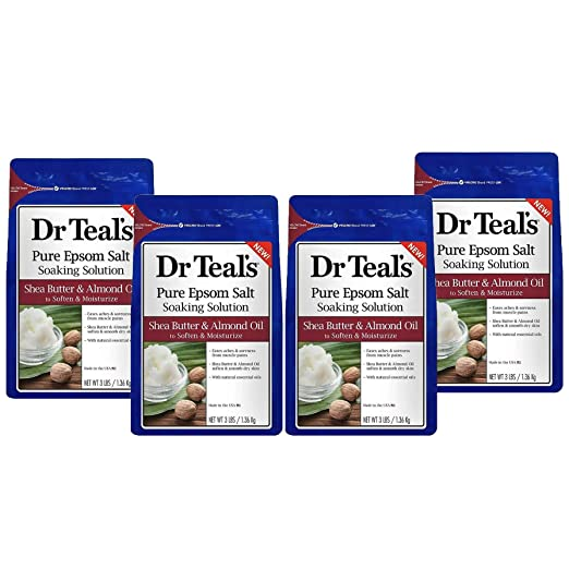 Dr. Teal's Epsom Salt Shea Butter Almond Oil Bath Soaking Solution with Essential Oils - Pack of 4, 3 lb Resealable Bags - Soften and Moisturize Your Skin, Relieve Stress and Sore Muscles