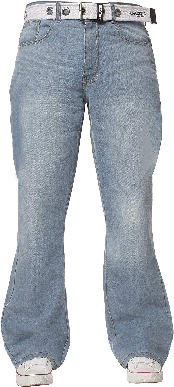 Kruze Mens Bootcut Jeans Flared Wide Leg Denim Pants Big Tall All Waist Sizes