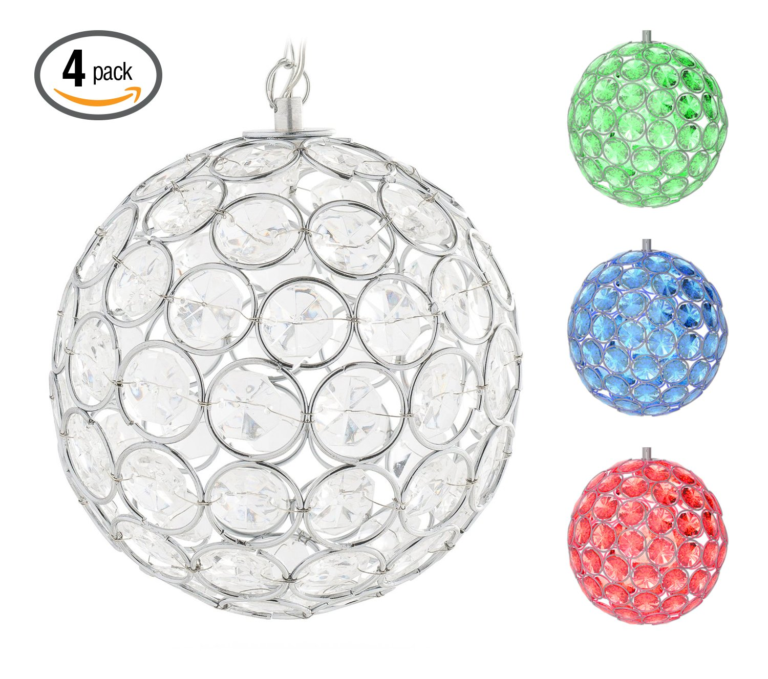 Hoont8482; Outdoor Hanging Decorative Sparkling Crystals Gazing Ball with Solar Powered Color Changing LED Light – 6 Inch Diameter (Pack of 4)