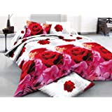 Amazon Price History for:7 Piece Set Animal Print Flower Pattern Soft 3d Comforter Set Including Matching 3d Sheet Set Queen (Red and Pink Rose-03)