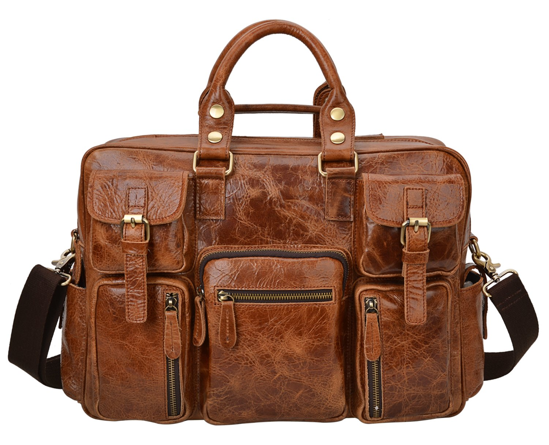 ALTOSY Men Vintage Genuine Leather Messenger Shoulder Travel Bag Satchel Briefcase 6908 (Light Brown) by ALTOSY