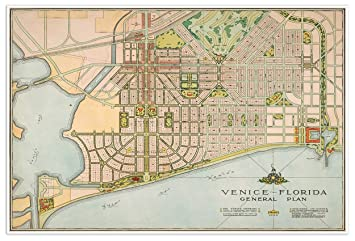Map Of Venice Florida.Amazon Com Antiguos Maps Venice Florida General Plan City Map Circa