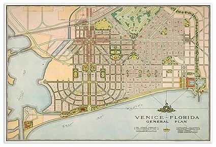 Amazon Com Antiguos Maps Venice Florida General Plan City Map Circa