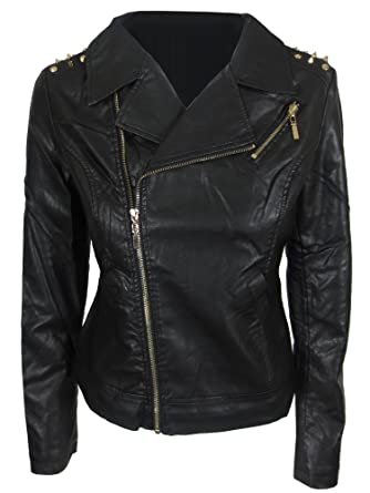 0db032c582 YSL Fashion Womens Black Leather Biker Jacket Gold Stud Studded Side ...