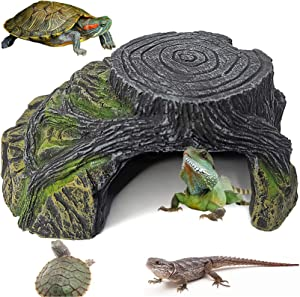 PINVNBY Turtle Basking Platform Lizard Hiding Cave Decorations Reptile Climbing Ramp Ornament Amphibians House Resin Tree Root Aquarium Decor for Tiny Fish Frogs