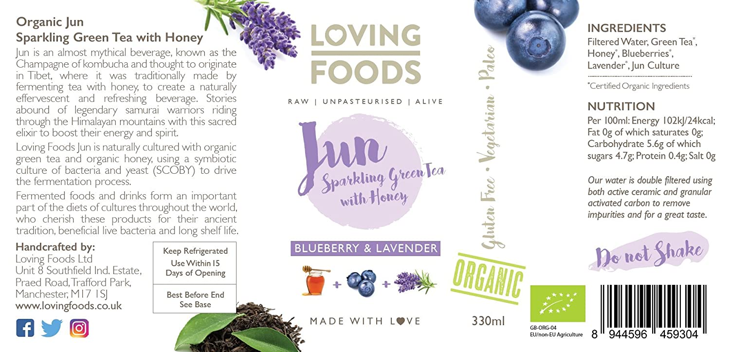 Loving Foods Orgánico Arándanos & Lavanda Jun (330ml) CRUDO ...