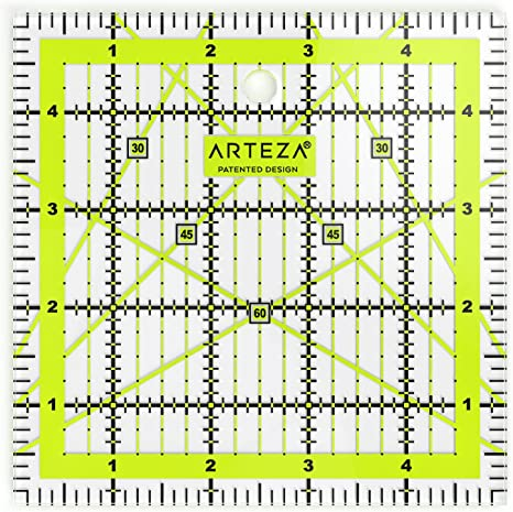 xlpace Acrylic Quilting Ruler 15x15cm Inch DIY Square Patchworks Ruler Double Colored Grid Lines Clear and Accurate Markings for Precision Cutting