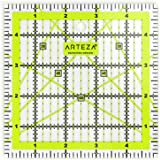 "ARTEZA Quilting Ruler, Laser Cut Acrylic Quilters' Ruler with Patented Double Colored Grid Lines for Easy Precision Cutting, 5"" Wide x 5"" Long for Quilting, Sewing & Crafts, Black & Lime Green"