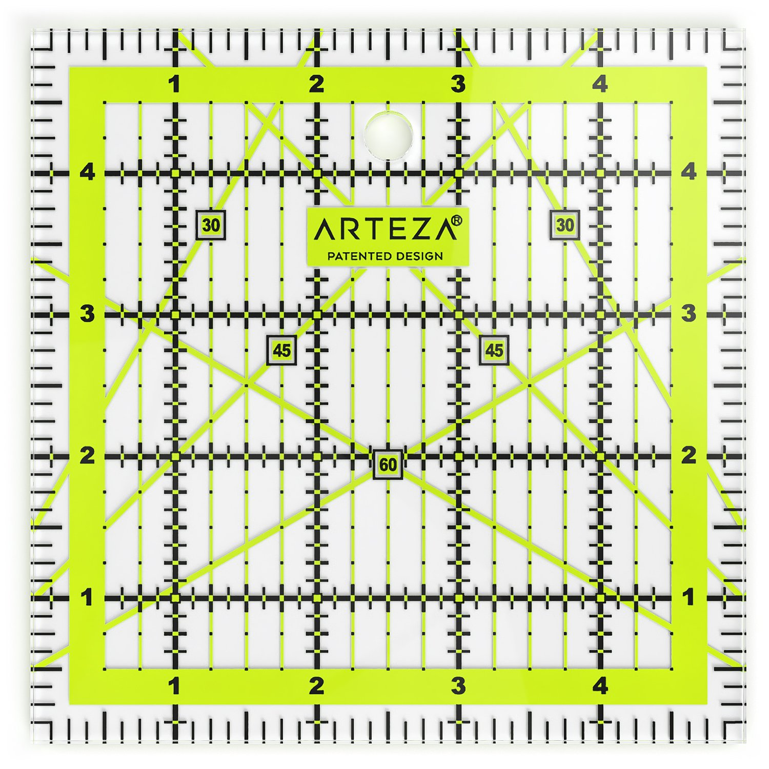 ARTEZA Quilting Ruler, Laser Cut Acrylic Quilters' Ruler with Patented Double Coloured Grid Lines for Easy Precision Cutting, 5