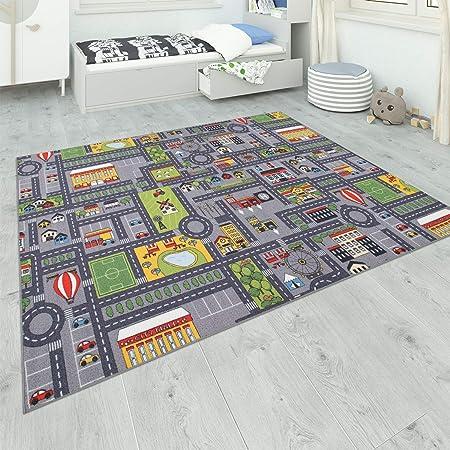 Paco Home Alfombra Habitación Infantil Gris Juegos Diseño