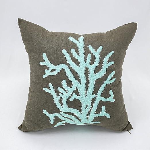 Coral manta decorativa Funda de almohada diseño náutico ...