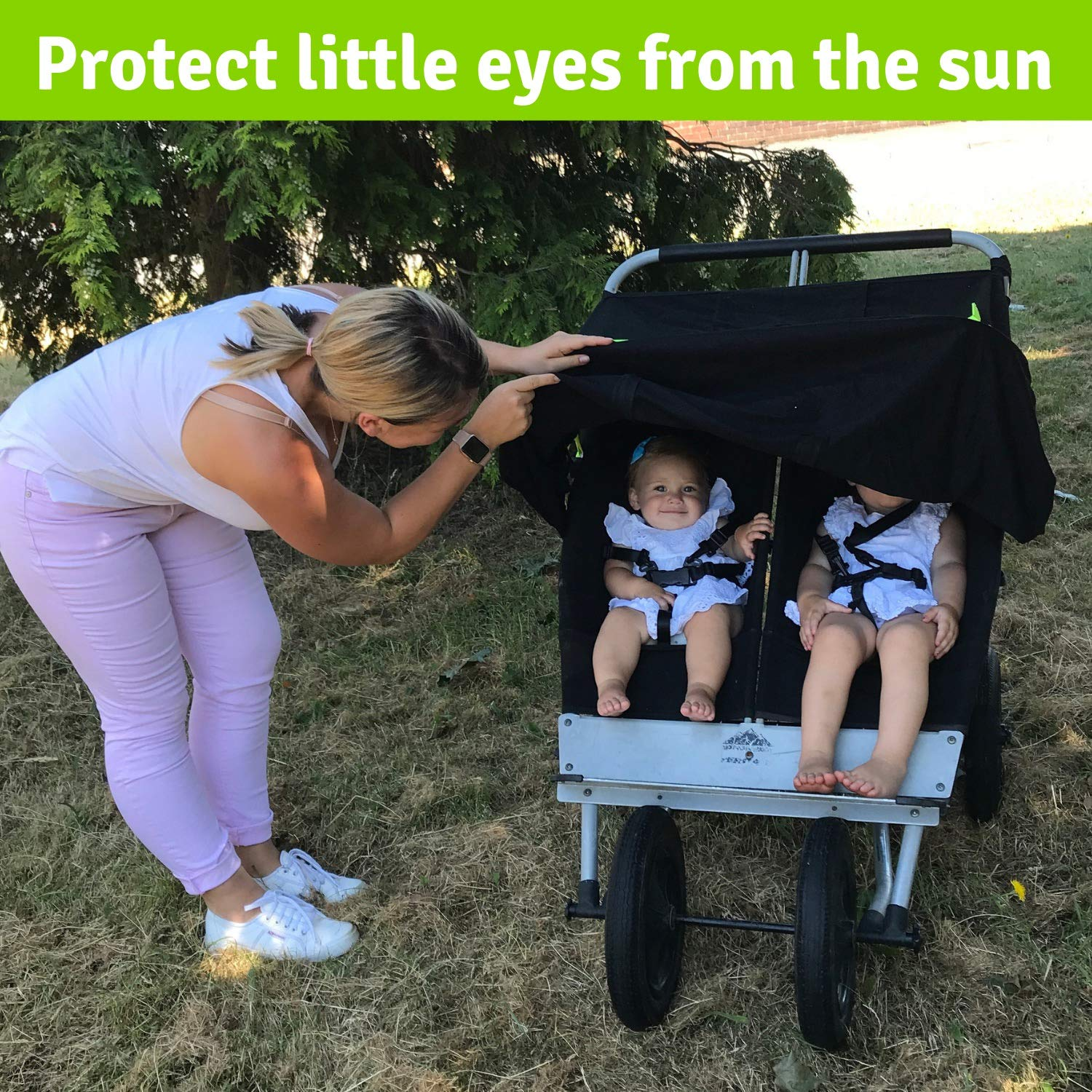 Double Stroller Cover & Sun Shade | Award-Winning Blackout Blind and Baby Sleep Aid | Stops 99% of The Sun's Rays | Lets Your Babies nap Safely Anywhere | Universal Fit | SnoozeShade Twin by SnoozeShade (Image #2)