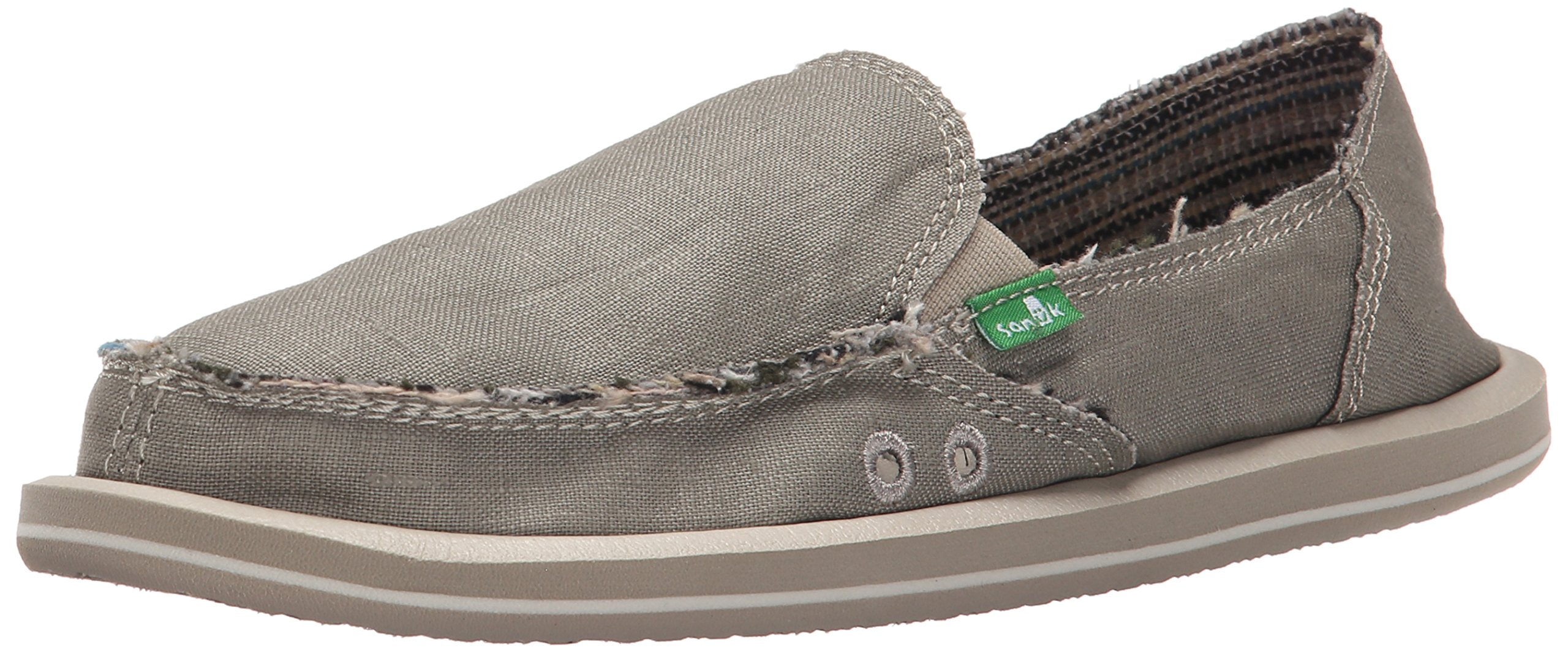 Sanuk Women's Donna Hemp Flat, Olive Grey, 6 M US