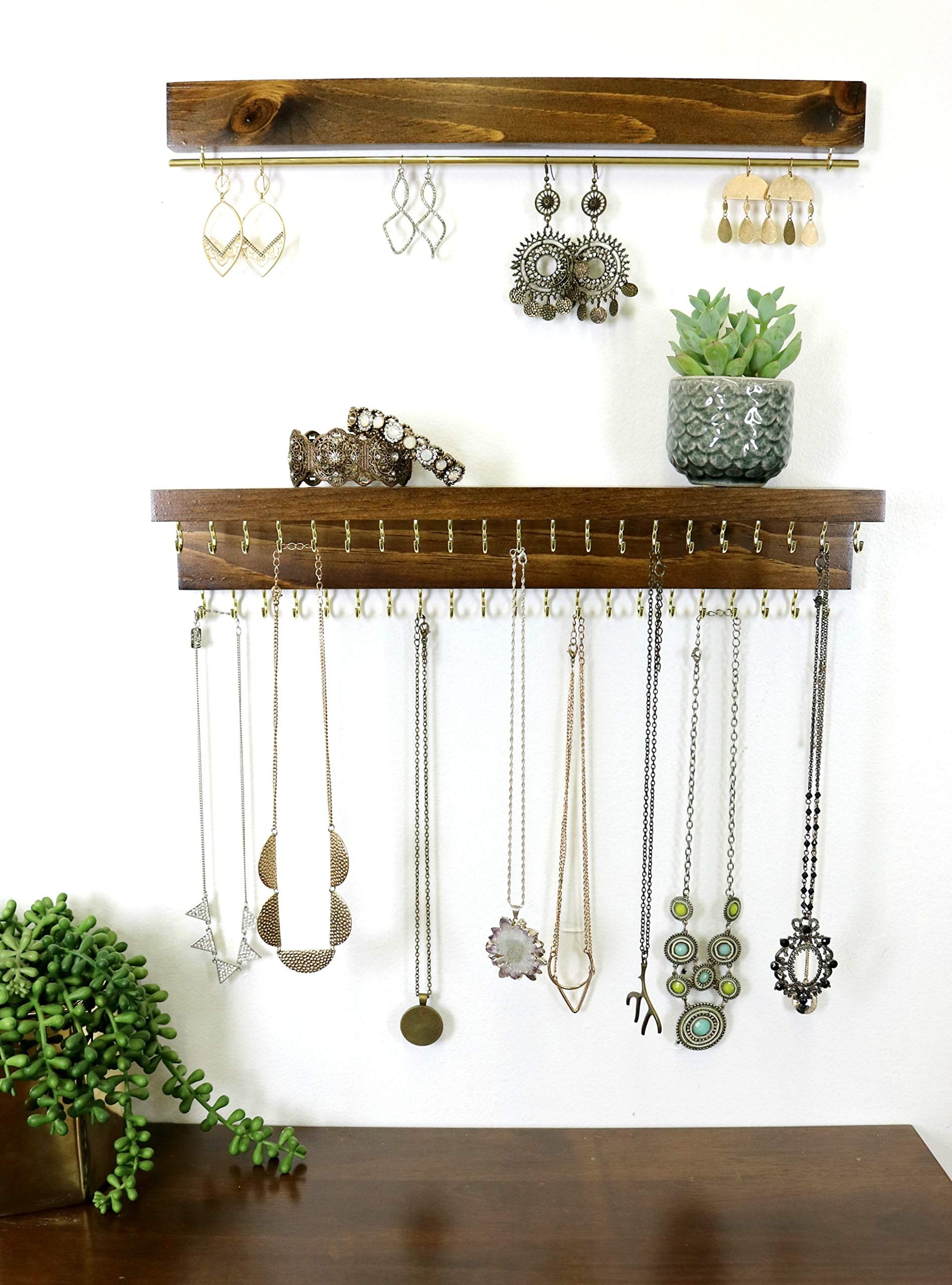 Rustic Jewelry Organizer Wall Mounted   Wooden Wall Mount Holder for Earrings, Necklaces and Other Accessories (16'' Long (Most Popular Size), Stained Dark Walnut/Gold Metal Finish)