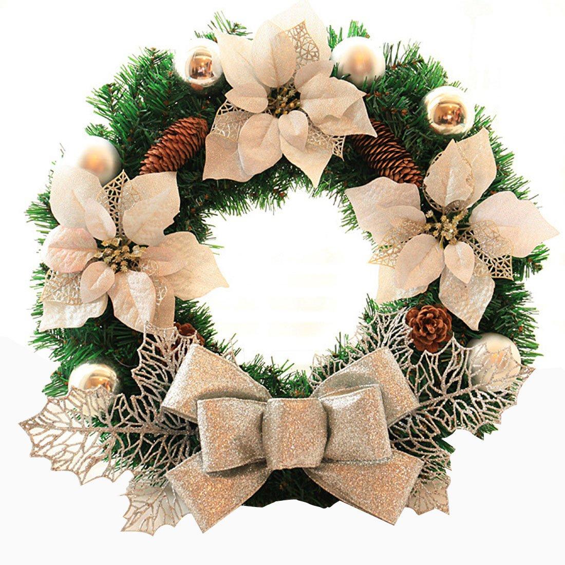 Coxeer 18 Inch Door Wreath Artificial Pine Rattan Home Hotel Christmas Decoration Door Garland