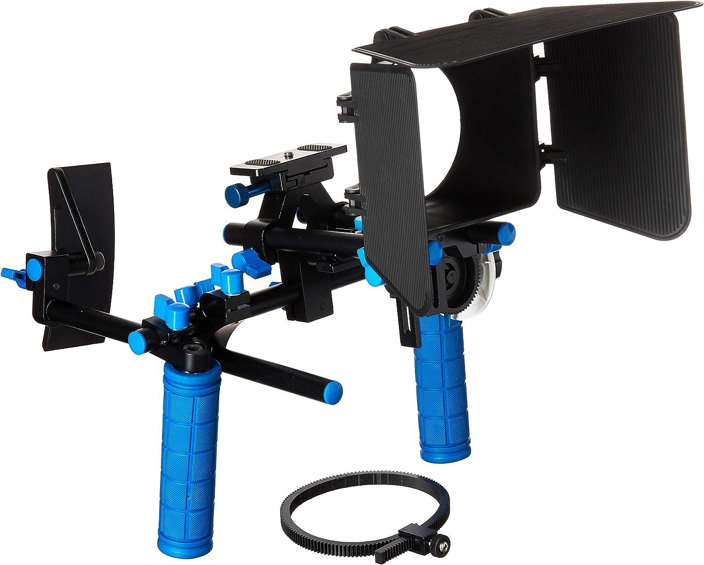 CowboyStudio Camcorder DSLR Shoulder Mount Rig Support 2 Hand & Follow Focus & Matte Box for DSLR Canon Nikon Sony, RL-00IISet