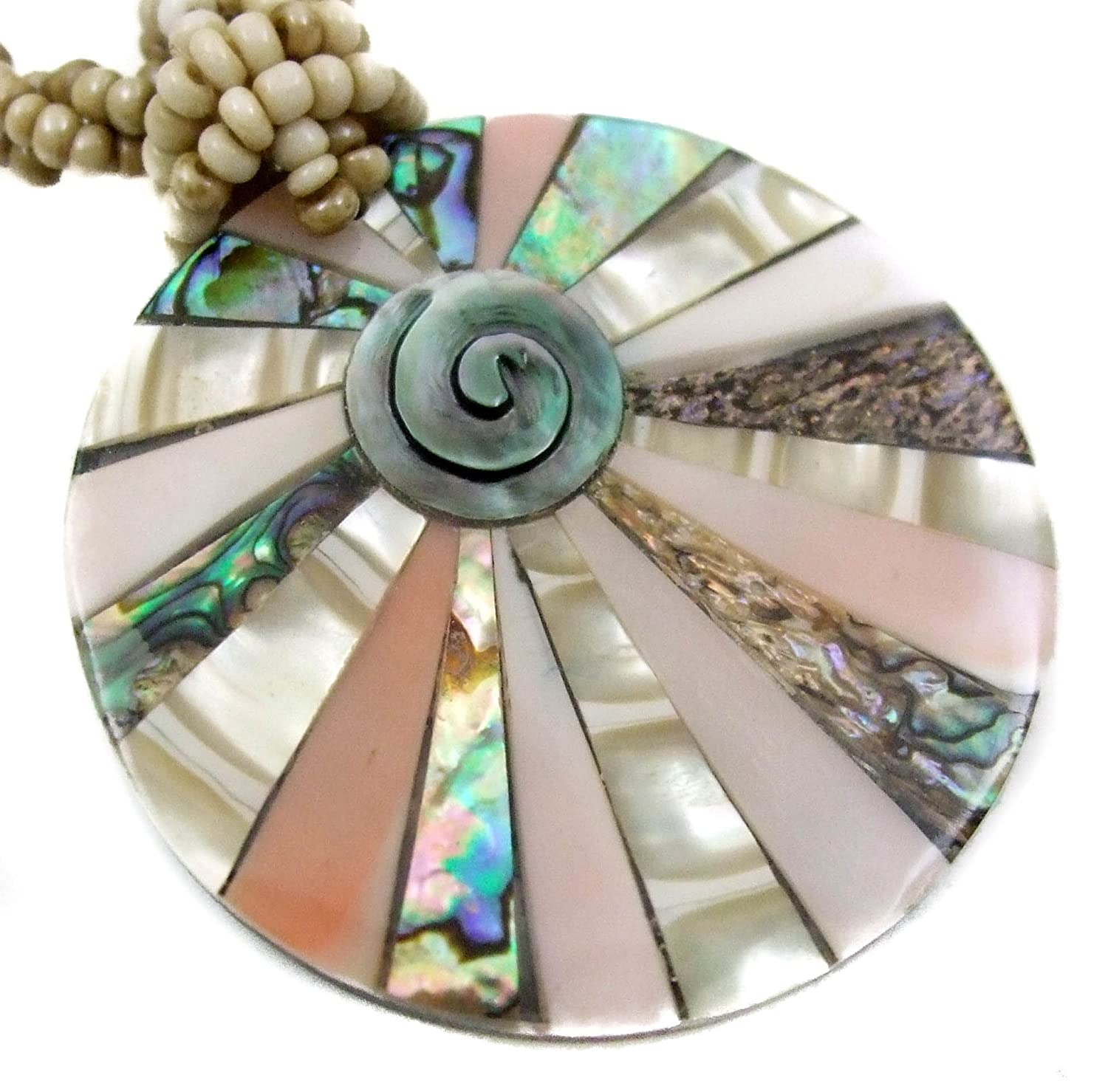 Swimmi Natural Abalone Shell Mother of Pearl Pendant Beads Necklace Handmade Women Jewelry CA310