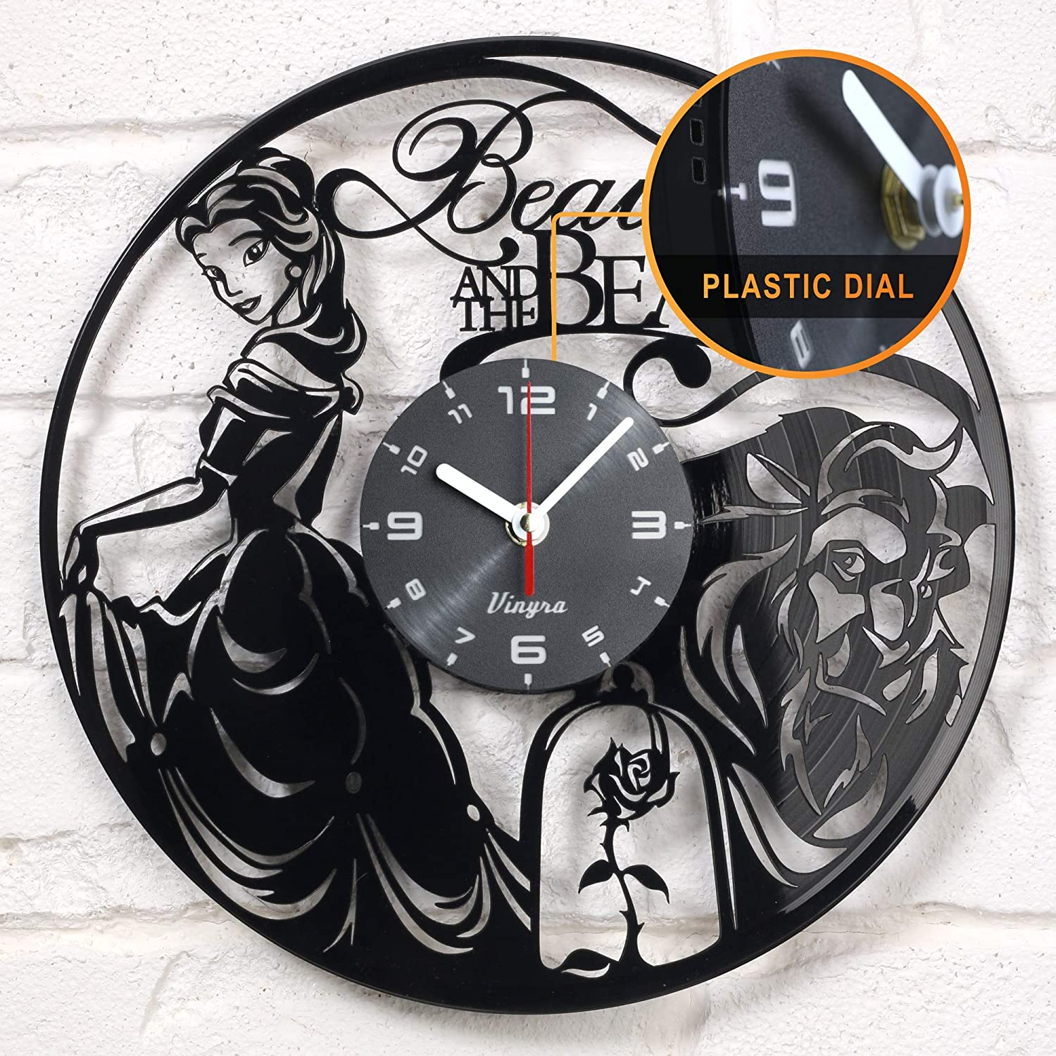 "Vinyra Vinyl Wall Clock compatible with Walt Disney Princess Belle Beauty and the Beast Themed Home - Gift Idea for Adults, Girls and Women Nursery Kids Room Wall Art Decor 12"" LP Record Clock Black"