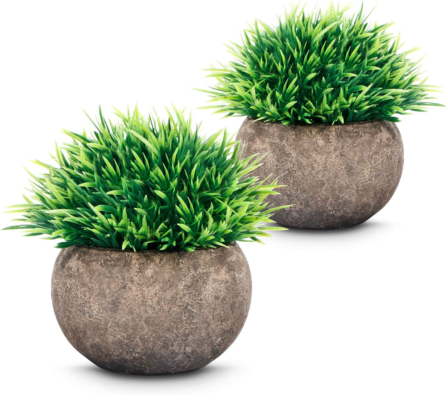 ASHINER 2 Pack Artificial Plants Indoors in Pots Faux Fake Plastic Plant Eucalyptus Rosemary Leaves for House//Bedroom//Desk//Office Decorative