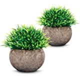 ODOM Artificial Plants (2 pcs), Mini Fake Plants with Air Purifying, Small Potted Plastic Green Grass for Farmhouse Home…