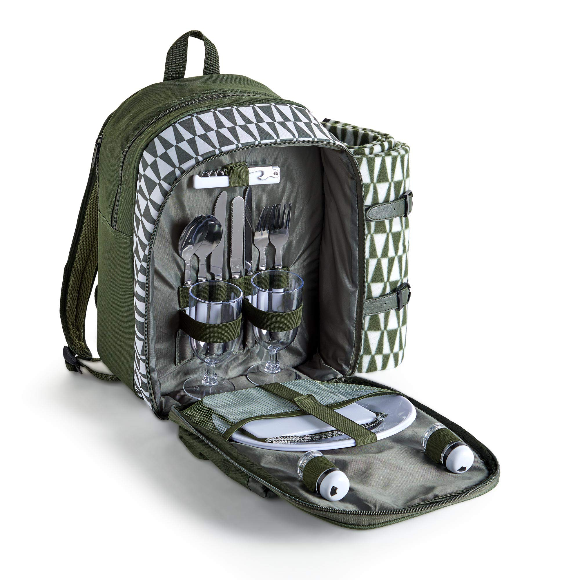 VonShef Picnic Backpack with Insulated Cooler Compartment - Green (2 Person) by VonShef