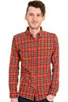 Mens Run & Fly 60s 70s Mod Brushed Flannel Red Check Plaid Lumber Shirt