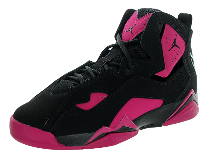 6403b378315 ... Amazon.com   Nike Girls Jordan True Flight GG Black/Sport Fuchsia Pink  Leather ...