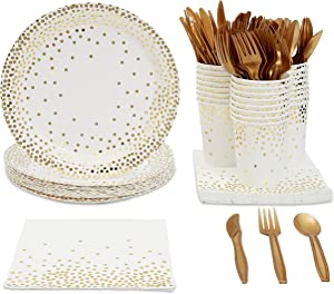 Gold Confetti Party Bundle, Includes Plates, Napkins, Cups, and Cutlery (24 Guests,144 Pieces)