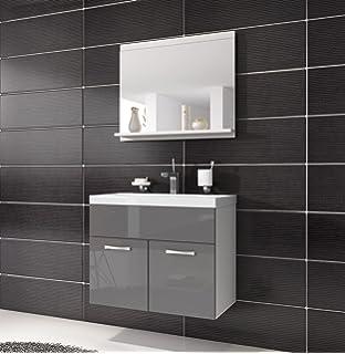 Badezimmer Badmöbel Montreal 02 60cm Waschbecken Hochglanz Grau Fronten    Unterschrank Waschtisch Spiegel Möbel