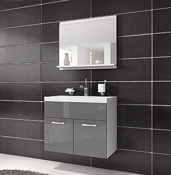 Bathroom Cabinet Montreal Basin Grey High Gloss Storage